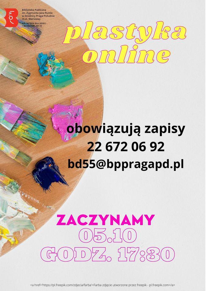 Plastyka online! Pierwsze spotkanie - 5 października o godz. 17.30. Obowiązują zapisy 22 672 06 92 lub bd55@bppragapd.pl