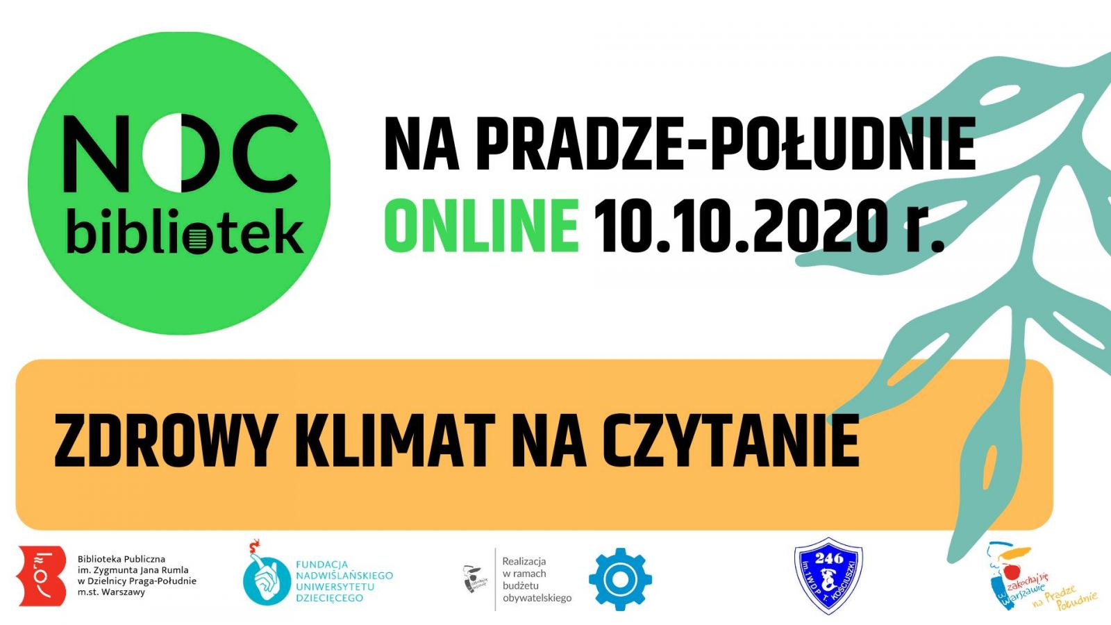 Plakat promujący Noc Bibliotek na Pradze-Południe online.