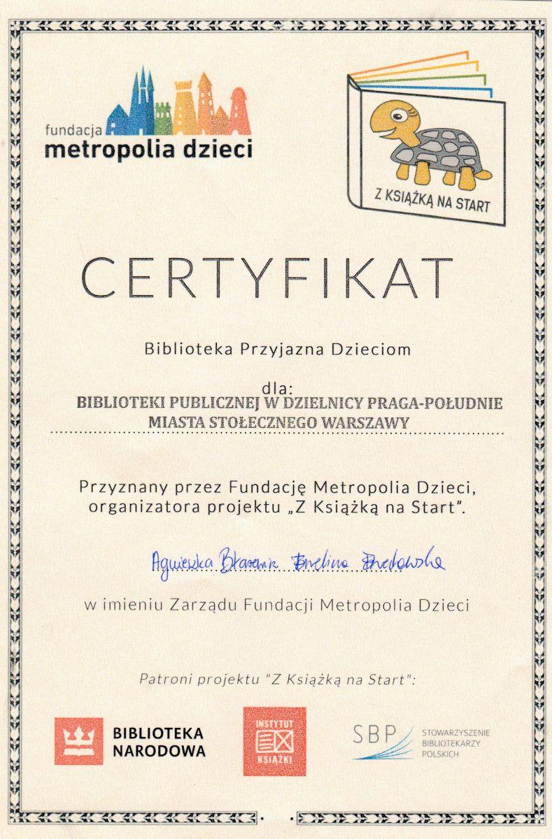 Certyfikat Biblioteki Przyjaznej Dzieciom