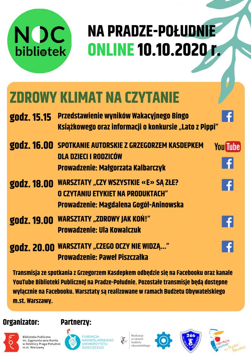 Plakat promujący Noc Bibliotek na Pradze Południe online.