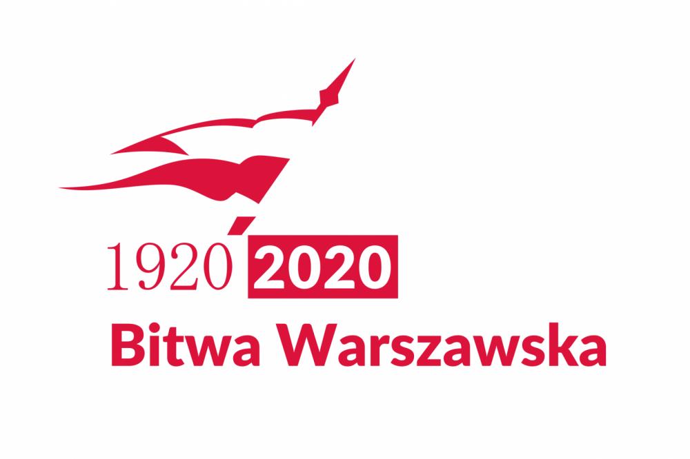 Biało czerwony proporzec. Poniżej tekst: 1920 2020 Bitwa Warszawska