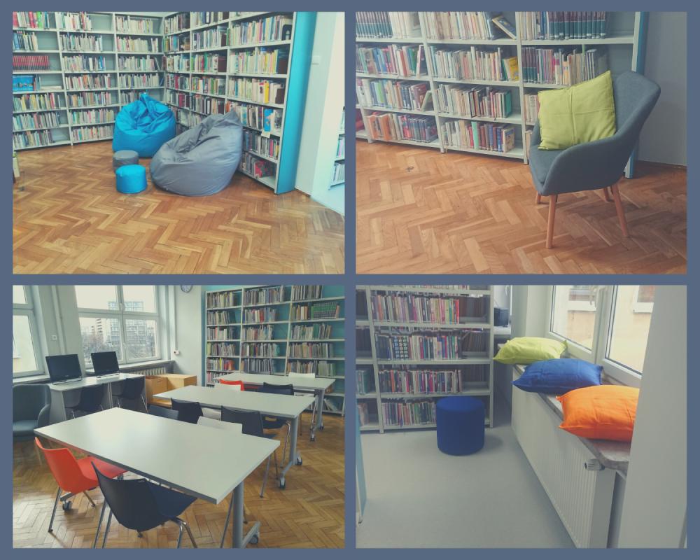 Fotografie przedstawiające pomieszczenia biblioteki nr 67 po zakończonym remoncie.
