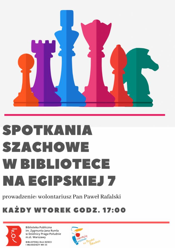 Spotkania szachowe w bibliotece na Egipskiej 7. Prowadzi wolontariusz Pan Paweł Rafalski, każdy wtorek godz. 17:00