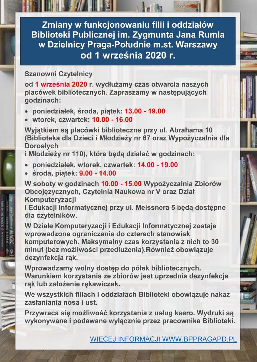 Zmainy w funkcjonowaniu filii i oddziałów Biblioteki Publicznej. Szczegóły w załaczniku (plik PDF) ponizej grafiki